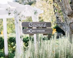 wood ceremony sign from Fall Wedding at Fearrington House: http://trendybride.net/fall-wedding-at-the-fearrington-house/ #trendybride