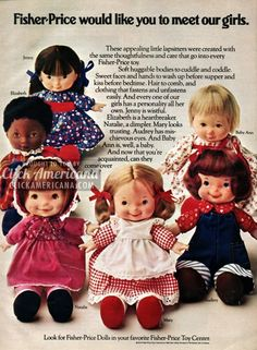 "1974 Fisher Price Dolls with 6 Dolls I had Mary and Jenny and Kristin had Baby Anne. We played a zillion hours of ""Big Sis"" with these baby dolls! (Big Sis was our name for playing house. Jouets Fisher Price, Fisher Price Toys, Vintage Fisher Price, 1970s Childhood, My Childhood Memories, Childhood Toys, 1970s Toys, Retro Toys, 1980s"