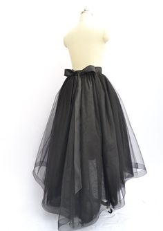 Floor length Black Hi Low Tulle Skirt & by CocoTutuhouse on Etsy