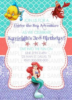 little mermaid birthday invitations   The Little Mermaid Birthday Invitation