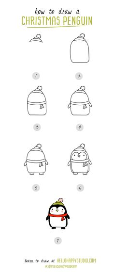How to draw a #christmas penguin | #52weeksofhowtodraw | hellohappystudio.com More                                                                                                                                                                                 More