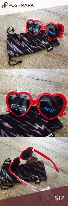 """NWT Luv Heart Sunnies by Neff ❣ suuuuper cute heart sunnies by Neff. brand new w original packaging  Just tell everyone to call you heartbreaker, and then when they say, """"heartbreaker?"""" you break into song, """"heartbreaker, you got the best of me, but I just keep on coming back incessantly."""" in case you forgot about that gem of a pop song by Mariah Carey. """"Pick up the Luv sunglasses from Neff, or else"""" - Mariah.  Frame Specs: 100% Plastic Frame Lens Specs: 100% Acrylic Lenses  Includes cloth…"""