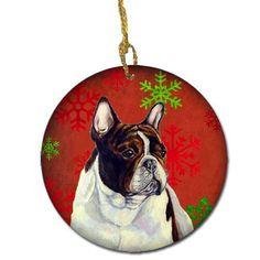 French Bulldog Red Snowflake Holiday Christmas Ceramic Ornament…