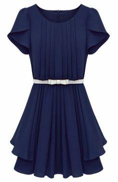 Cute Bridesmaid dress  Blue Ruffles Short Sleeve Pleated Chiffon Dress pictures