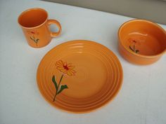 Fiestaware Tangerine Floral set Homer laughlin of three mug, lunch plate , bowl
