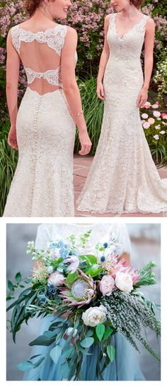 9 Boho Bouquets For Your Eclectic Wedding Gown - Lace boho wedding dress with double keyhole back Hope by Rebecca Ingram. Photo: Tyler Rye Photography | Bouquet: By Bloomers