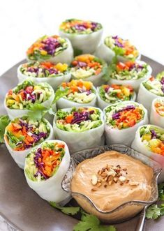 Loaded Veggie Summer Rolls with Cashew Tahini Dip - vegan + gluten free| Posted By: DebbieNet.com