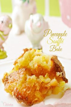 Easy and delicious Pineapple Soufflé Bake makes a wonderful side dish to ham OR serve it as dessert with ice cream! From littlemisscelebrati. Tried this on thanksgiving using gluten free bread and it was delicious. Easter Side Dishes, Side Dishes Easy, Side Dish Recipes, Easter Buffet, Main Dishes, Baked Pineapple, Pineapple Recipes, Pineapple Juice, Pineapple Souffle Recipe