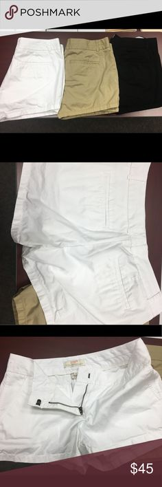 Bundle Of 3 Jcrew Shorts each worn twice. Weight gain caused these not to fit. Purchased from the Jcrew store. All in like new condition. White, tan and black pair. All size 4. The inseam on all is 3 inches. Comfortable. Fit great. Just not on myself. J. Crew Shorts
