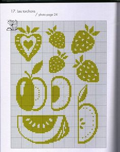 "Photo from album ""Рукоделие"" on Yandex. Cross Stitch Fruit, Butterfly Cross Stitch, Cross Stitch Kitchen, Cross Stitch Flowers, Filet Crochet Charts, Knitting Charts, Cross Stitch Charts, Cross Stitch Patterns, Knitting Patterns"