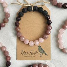 January Birthstone / Garnet, Rose Quartz, Strawberry Quartz / Essential Oil Diffuser Bracelet - Best of pins! Stone Jewelry, Beaded Jewelry, Handmade Jewelry, Jewellery, Silver Jewelry, Wedding Jewelry, Armband Diy, Diffuser Jewelry, Gemstone Bracelets