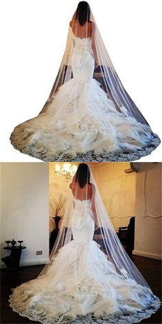 Dreamdress Women's Long White Applique Wedding Veils Tulle With Comb (White)