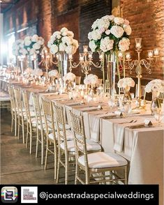 Wedding Receptions White Wedding centerpieces Gold Reception Chairs Exposed Brick Wedding Reception - Emily and Michael's Lovely Pink And Ivory Wedding day was full of little details and special touches and every single one of them is so pretty! Wedding Table Themes, Wedding Table Centerpieces, Wedding Reception Decorations, Wedding Receptions, Centerpiece Ideas, Centerpiece Flowers, Wedding Reception Dresses, Long Table Decorations, Long Wedding Tables