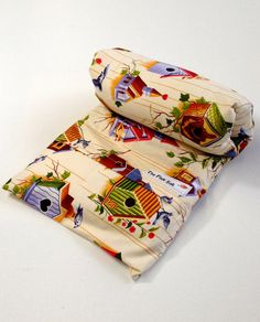 """HEATING PAD- The Perfect gift,  Microwavable FLAX Wrap -Neck Pain-Removable/Washable Heat pad- Large Bird house Flannel cover-""""The FLaX SaK"""""""