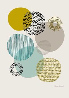 Sort of Circles is a print based on my textural drawings of circular shapes. The emphasis is very much on colour and pattern, and their