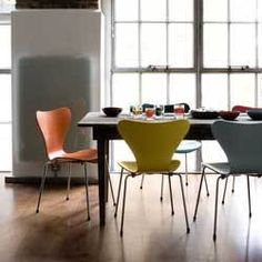Arne Jacobsen Art Chair - Series 7 I love all the bright colours around my dining table