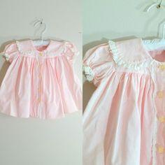 Vintage 1950s Baby Dress / Pink Cotton Party Dress / 12 Months Shop at www.etsy.com/Shop/ThriftyVintageKitten