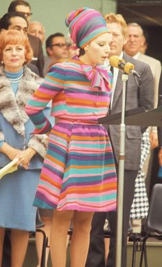 Barbra speaks at pro-Israel rally at the Hollywood Bowl to raise emergency funds for Israel after the Six-Day War.  June 11, 1967.