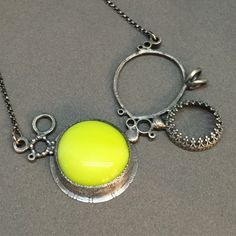 neon yellow necklace pendant everyday statement necklace metalsmith contemporary…