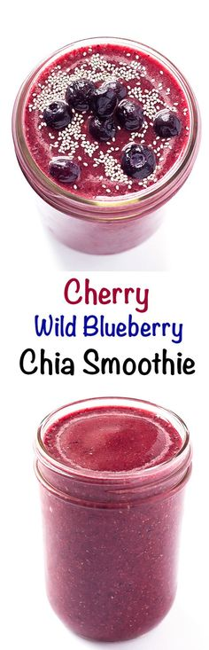 Cherry Wild Blueberry Chia Smoothie - Frozen cherries and wild blueberries blended together with coconut water and chia seeds.  Perfect for a breakfast or snack.  #ad #WildYourSmoothie