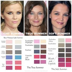 Summer Makeup Comparisons. LIGHT SPRING makeup is light, sheer, and delicate. Light Cool Pastels. Milky. Creamy. Sugary. Confection. Cotton Candy Land. Fluffy. It is similar to Light Spring but is more Cool than warm. Light Summer has a slight bit of Springs yellow warmth added to it, but it remains more cool than warm. TRUE SUMMER is 100% Cool, light-medium, sheer and cool. Like True Winter, True Summer cares most about coolness, but on a lighter level. Lots of blue, mauve, pastel pinks…