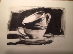 Cups, Monotype I would love to explore a monotype, monochromatic still life composition similar to the work done by Shahal at some point this quarter. Painting Inspiration, Art Inspo, Collages, Print Artist, Illustrations, Art Prints, Lino Prints, Block Prints, Printmaking
