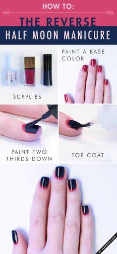 This mani is so simple that you ONLY need two nail colors + top coat - no scissors, no tape, no tweezers or stickers—just two pretty polishes. Without further ado, we give you the understated reverse half moon manicure (no supplies necessary).