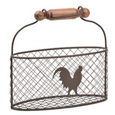 Country Rooster Wire Basket