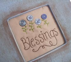 Blessings Framed Stitchery with blue button flowers