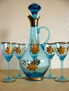 Mid Century Decanter Barware Set Blue Glass Gold by vintagediaries, $46.00