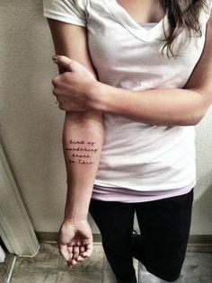bind my wandering heart to thee tattoo forearm script handwritten tattoo
