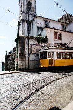 yellow trolley Bilbao, Spain