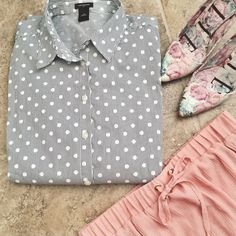 Ann Taylor Button Up Polka dots and stripes are the print of this super cute button up. It's only been worn once and been put away, it's in excellent condition! **shoes are not for sale but skirt is and has its own listing** Ann Taylor Tops Button Down Shirts