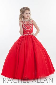 Chiffon ball gown with beaded necklace detail on front and back bodice. Call 1-815-782-8877 to order or online at http://www.everythingformals.com/rachel-allan-perfect-angels/