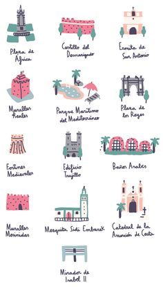 Visiting Ceuta Map project about Ceuta, my birthplace. You can find on it all the important places of the city. Illustration Design Graphique, Travel Illustration, Flat Illustration, Map Projects, Illustrations And Posters, San Antonio, Design Art, Artwork, Prints