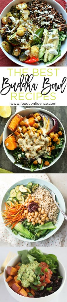 Buddha Bowls are the perfect healthy lunch or dinner - they're packed with protein, veggies, whole grains, and tons of flavor, plus they're super flexible and can be made with whatever you have on hand. Need some tips for getting started? Check out this list of the best Buddha Bowl recipes!   healthy lunch ideas   buddha bowls   vegan lunch ideas   make ahead lunch recipes  