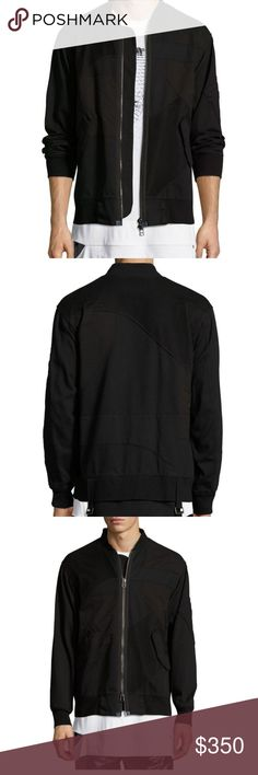 NWT Helmut Lang Patchwork Bomber Jacket New with tag. Black, size small.  Helmut Lang bomber jacket in tonal patchwork knit, mesh, and canvas. Baseball collar; two-way zip front. Long sleeves; pocket at left. Ribbed cuffs and hem. Front flap pockets. Cotton/spandex. Helmut Lang Jackets & Coats Bomber & Varsity