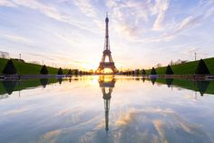 Sunrise on Eiffel Tower in Paris
