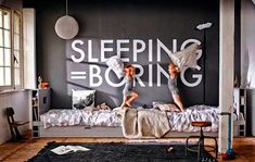 Sleeping is NOT boring, but I love this graphic statement wall