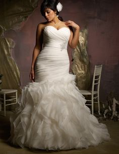 85881522ef914 Plus Size Mermaid Style Ruched Ruffled Trumpet Wedding Dress    Autumn  Collection