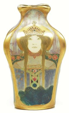 "Amphora vase, beautifully painted and detailed portrait of a woman in a landscape surrounding the entire vase, signed Turn Teplitz Bohemia, R St K, impressed Amphora and numbered, artist initials, 5""w x 8.5"" h"