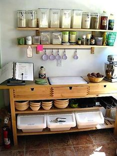 home based bakery kitchen - Google Search Bakery Kitchen, Prep Kitchen, Kitchen Pantry, Kitchen Doors, Kitchen Display, Kitchen Cupboards, Kitchen Ideas, Baking Organization, Baking Storage
