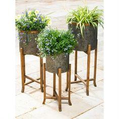 Corrugated Galvanized Metal Stand Set of 3 Planters #farmhouse #farmhousedecor