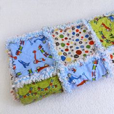 Baby Quilt  Blue Green Yellow & Red Toys  by Sewingdreamsnotions, $50.00
