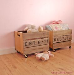Pallet Storage Boxes / Crate Carts. I would really like these for the bottom of my pantry (made from wine crates if I can find the right size). But if not - these would work well. The link has DIY instructions. http://ana-white.com/2010/09/vintage-crate-carts.html
