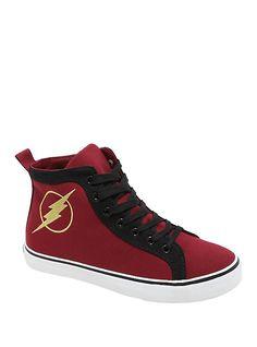 2b9a8017891e DC Comics The Flash Hi-Top Sneakers. Hot Topic ShoesFlash SuperheroConverse  ...