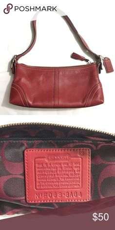 Authentic COACH small leather bag Authentic red Coach leather bag. Bag and lining are in great condition except for a pen line on one side as pictured! Make me an offer OR bundle 3+ from my closet to get 15% off, only pay shipping ONCE, and get a free gift! Coach Bags