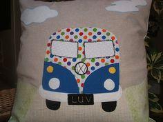 Nostalgic and cute VW camper van applique on pillow cushion