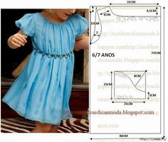 Fabric pattern: Children dress - maomao - I move your feet Baby Dress Patterns, Sewing Patterns For Kids, Clothing Patterns, Fashion Kids, Sewing Clothes, Diy Clothes, Little Girl Dresses, Girls Dresses, Moda Kids
