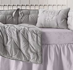 Hand-Tufted Cotton-Silk & Washed Linen Cotton Floral Nursery Bedding Collection
